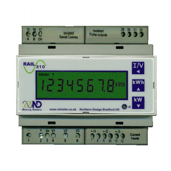 ND Rail 350VIP Retro-Fit Multifunction kWh Meter with Web pages and Modbus/TCP