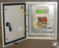 Panel with single rail-mounted meter inside