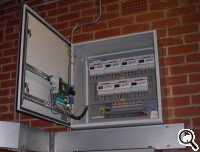 Panel with 7 ABB meters and a datalogger